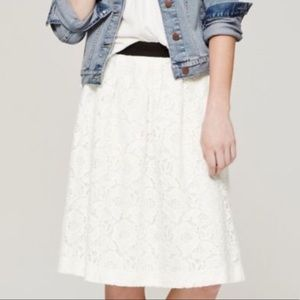Loft White Lined Lace Skirt. Size 4